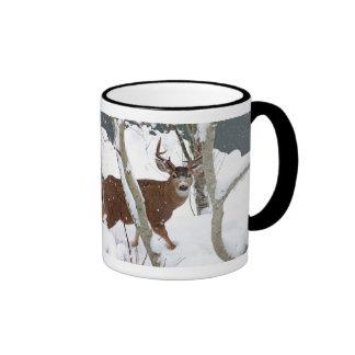 Deer Buck in Snow in Winter Ringer Mug