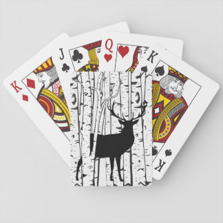 Deer Buck in White Birch Trees Playing Cards