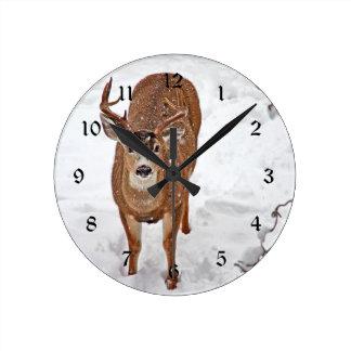 Deer Buck in Winter Snow Round Clocks