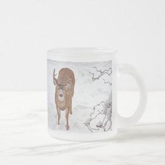 Deer Buck in Winter Snow 10 Oz Frosted Glass Coffee Mug