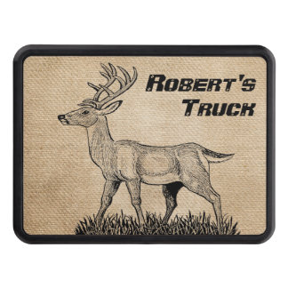Deer Buck on Burlap Personalized Truck Hitch Covers