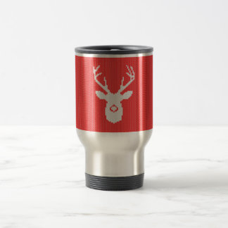 Deer Buck Silhouette in Red Sweater Knitting Travel Mug