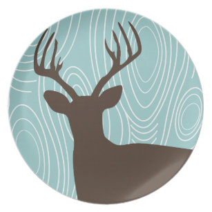 Deer Buck Silhouette Wood Grain Patio Plates  sc 1 st  Zazzle & Deer Silhouette Plates | Zazzle