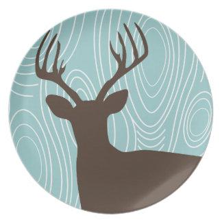 Deer Buck Silhouette Wood Grain Patio Plates