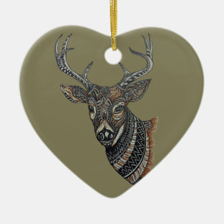 Deer Buck with Intricate Design. Ceramic Ornament