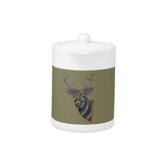Deer Buck with Intricate Design Teapot
