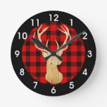 Deer Buffalo Plaid Wood Rustic Woodland Round Clock