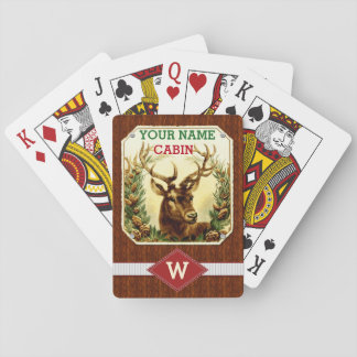 Deer Cabin Personalized Monogram with Wood Grain Card Decks