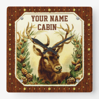 Deer Cabin Personalized Name Wood Grain Vintage Square Wall Clock
