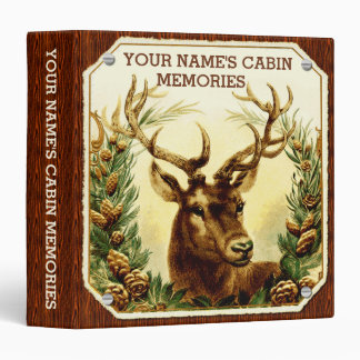 Deer Cabin Personalized with Wood Grain 3 Ring Binder