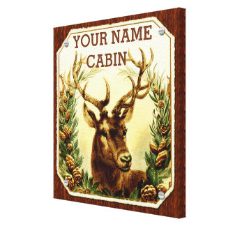 Deer Cabin Personalized with Wood Grain Canvas Print