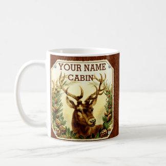 Deer Cabin Personalized with Wood Grain Coffee Mug