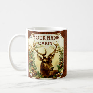 Deer Cabin Personalized with Wood Grain Classic White Coffee Mug