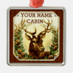 Deer Cabin Personalized with Wood Grain Christmas Tree Ornaments