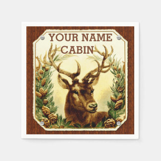 Deer Cabin Personalized with Wood Grain Paper Napkin