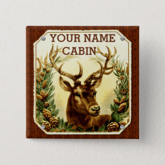 Deer Cabin Personalized with Wood Grain Pinback Button