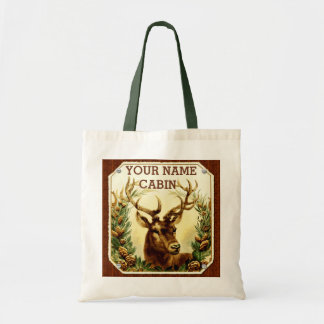 Deer Cabin Personalized with Wood Grain Tote Bag