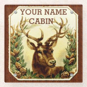 Deer Cabin Wood Grain Pine Cones Personalized Name Glass Coaster