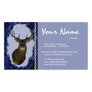 Deer Chain Taxidermy Business Cards Blue