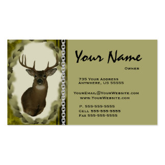 Deer Chain Taxidermy Business Cards Brown