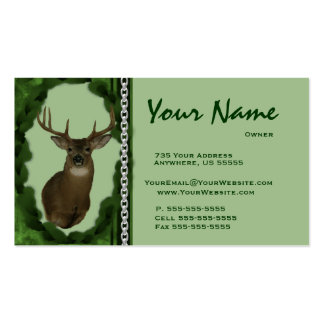 Deer  Chain Taxidermy Business Cards ~ Green