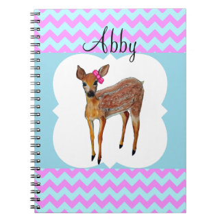 Deer Chevron Cotton Candy Personalized Notebook