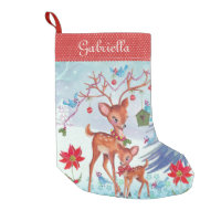 Deer Christmas Birds | Christmas Stocking Small Christmas Stocking