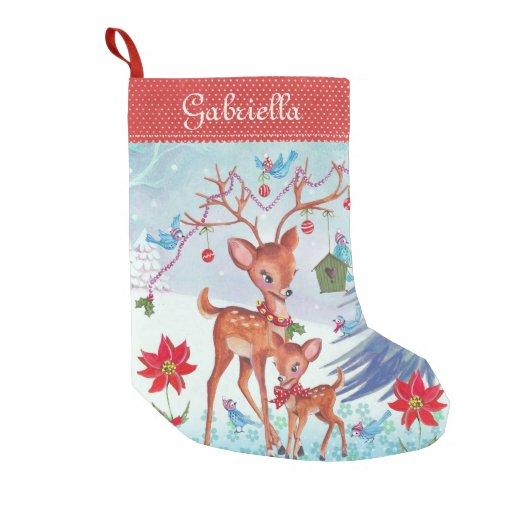 Deer Christmas Birds Christmas Stocking Small Christmas Stocking