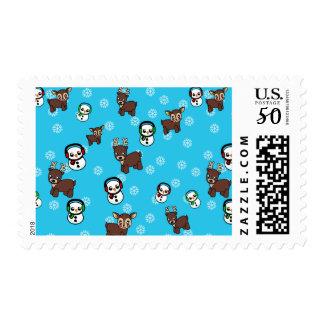 Deer Christmas Postage Stamps