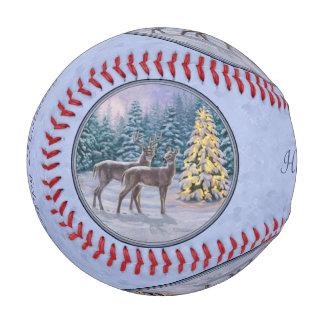 Deer & Christmas Tree Winter Blue Baseball