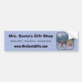 Deer & Christmas Tree Winter Blue Bumper Sticker