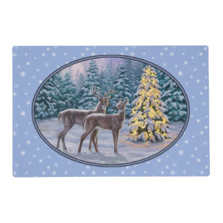 Deer & Christmas Tree Winter Blue Placemat