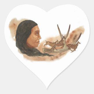 Deer Clan Heart Sticker