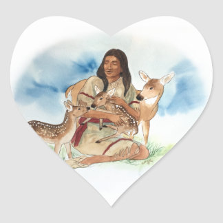 Deer Clan Mother With Her Fawns Heart Sticker