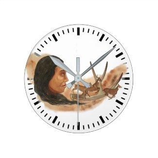Deer Clan Round Clock