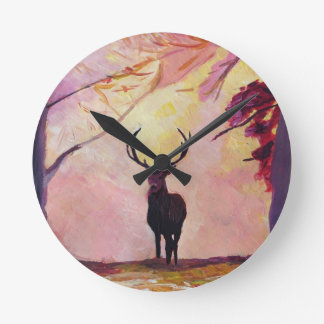 Deer coming from the glade round clock