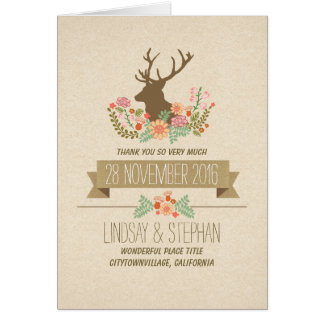 Deer country rustic wedding thank you cards