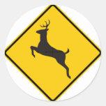 Deer Crossing Highway Sign Classic Round Sticker