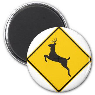 Deer Crossing Highway Sign 2 Inch Round Magnet