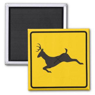 Deer Crossing Highway Sign 2 Inch Square Magnet