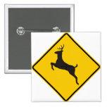 Deer Crossing Highway Sign Pin
