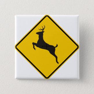 Deer Crossing Highway Sign Pinback Button