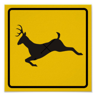 Deer Crossing Highway Sign Print