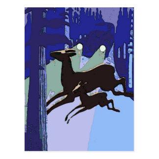 Deer Crossing Road, vintage style Postcard