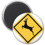 Deer Crossing Symbol 2 Inch Round Magnet