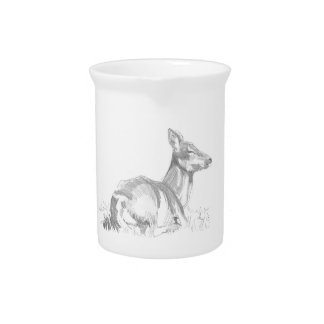 Deer Drawing Beverage Pitcher