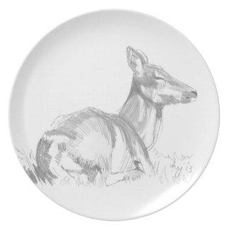 Deer Drawing Dinner Plate