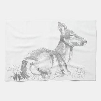 Deer Drawing Kitchen Towel