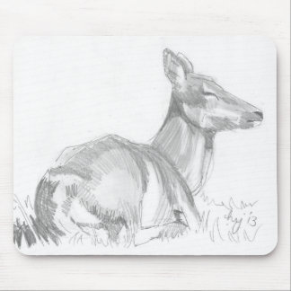 Deer Drawing Mouse Pad