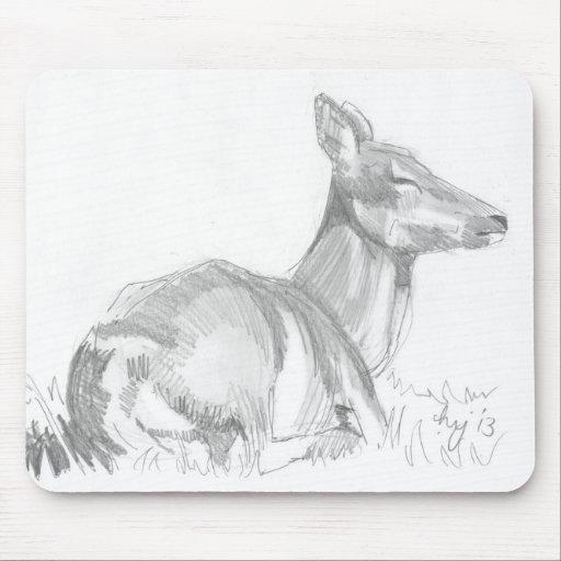 Deer Drawing Mouse Pad